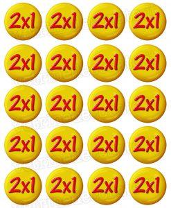 bollini adesivi con scritta 2x1