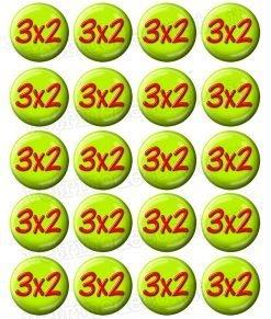 bollini adesivi con scritta 3x2