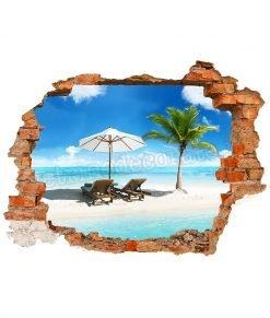 adesivo murale con spiaggia tropicale con palma dietro un buco nel muro