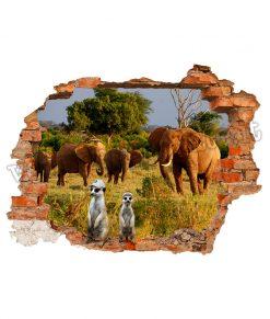 adesivo murale con finto buco con cornice di mattoni con elefanti e suricati