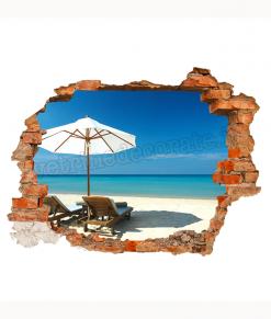 adesivo murale con finto buco con dietro una spiaggia