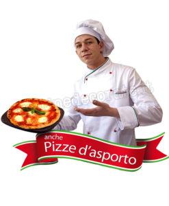 pizzaiolo con scritta pizza d'asporto