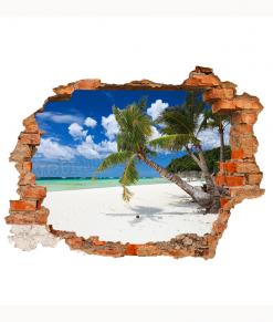 cornice di mattoni rossi con spiaggia tropicale su adesivo murale