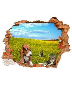 adesivo murale con cane e un gatto con la campagna fuori casa