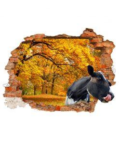 adesivo murale con mucca in un bosco autunnale