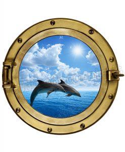 oblò con coppia di delfini