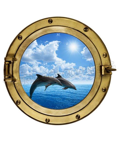 adesivo murale con oblò e delfini