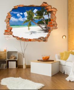 finto buco sulla parete del soggiorno con spiaggia tropicale