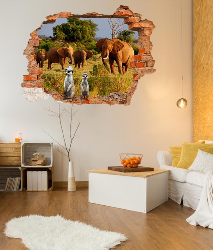 Finto buco sulla parete con elefanti e suricati for Lista permesso di soggiorno