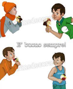 bambini con coni gelato
