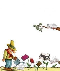 adesivo con Contadino in un campo di libri