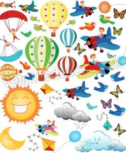 aerei mongolfiere e paracadutisti