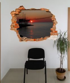 buci sulla parete con trabucco al tramonto