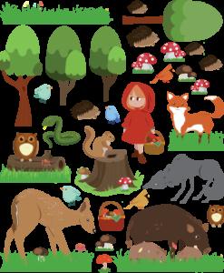 animali e piante del bosco