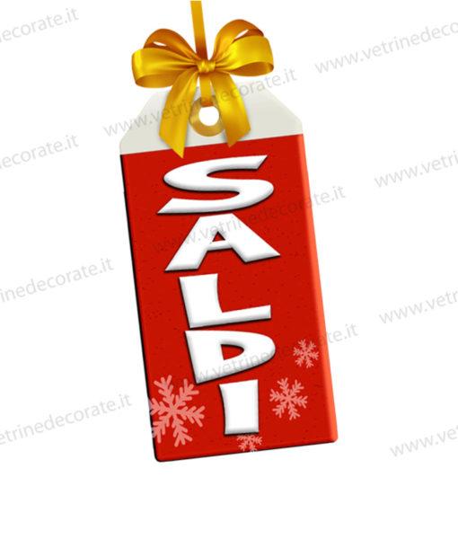 cartellino rosso con fiocco e scritta saldi