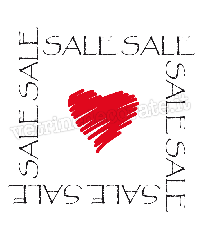 Sales in the shape of a frame with a big red heart in the middle.