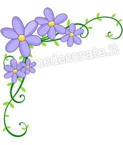 adesivo angolare fiori lilla