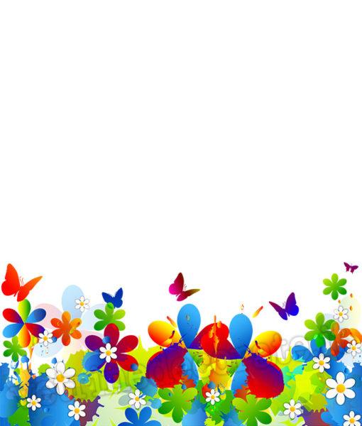 decorazione modulare con fiori e farfalle