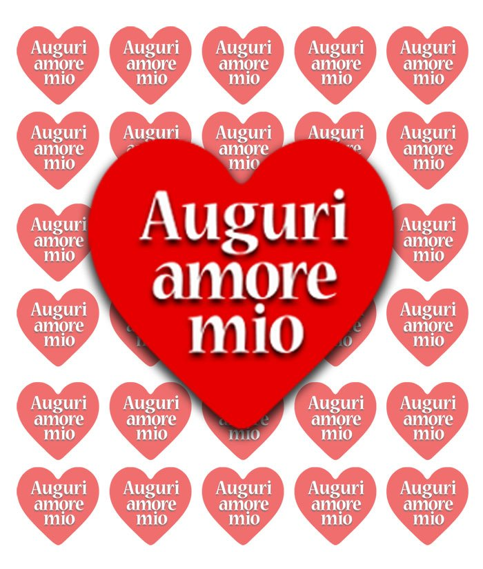"""Favoloso Chiudipacco a cuore e scritta """"Auguri amore mio"""" SJ82"""