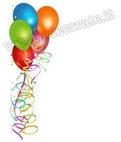 adesivo con palloncini e coriandoli colorati
