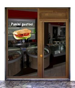 Vetrina con immagine di un panino