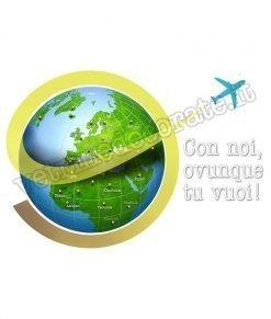 adesivo con aereo che sorvola il pianeta terra