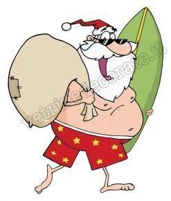 adesivo Babbo Natale con sacco dei doni e tavola da surf