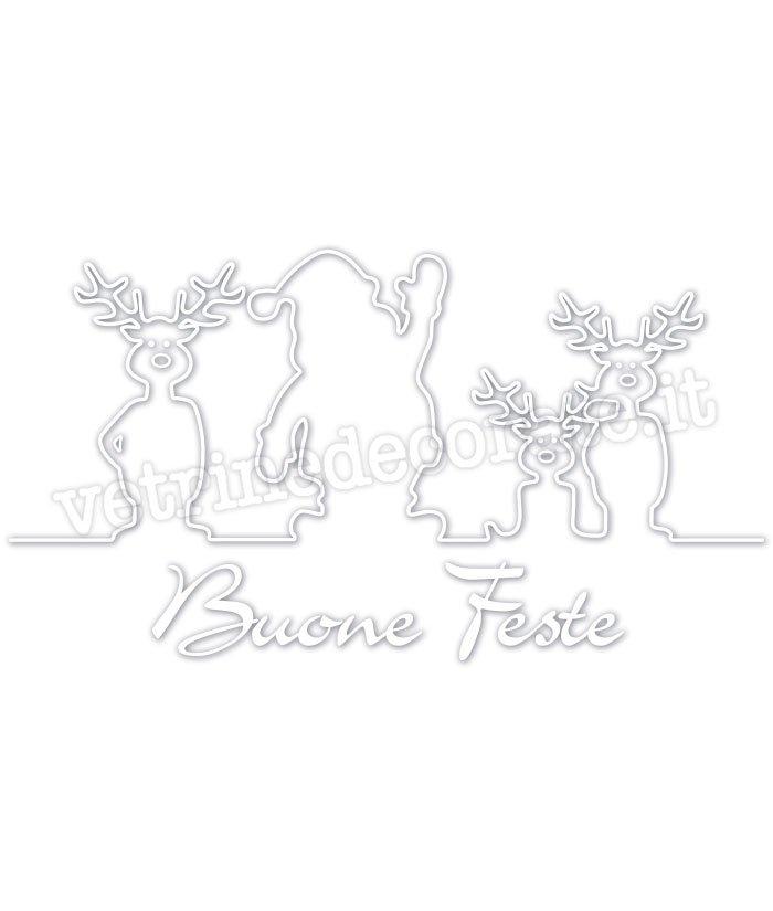 Babbo Natale Con Due Renne In Vinile Adesivo Bianco Intagliato