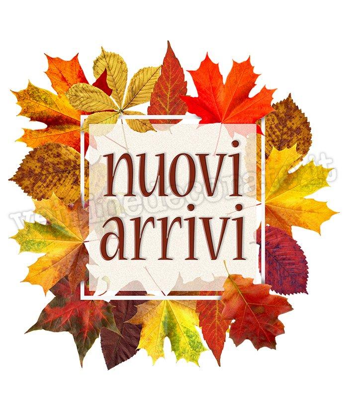 1037 Scritta nuovi arrivi su foglie autunnali