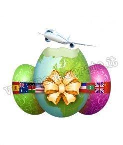 vetrofania uova di pasqua con aereo