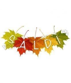 vetrofania scritta saldi su foglie autunnali