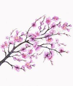 vetrofania ramo con fiori di pesco