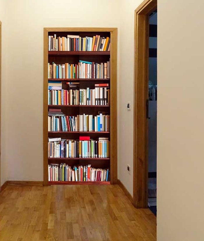 1091 - Porta decorata con finta libreria - Adesivi e vetrofanie per ...