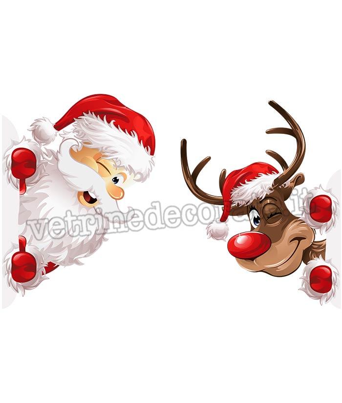 Adesivi Babbo Natale.Babbo Natale In Affaccio Con Renna In Adesivo E Vetrofania