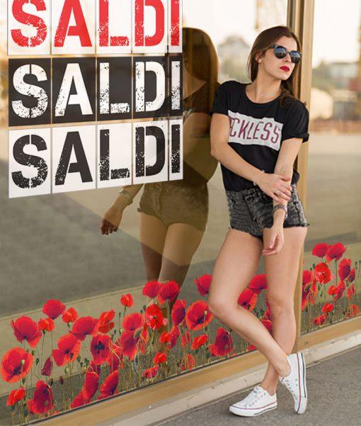 adesivo scritta saldi colore bianco, rosso e nero