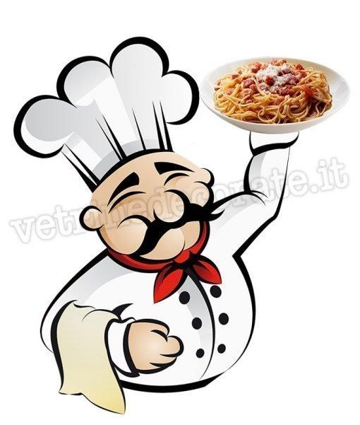 vetrofania cuoco con piatto spaghetti