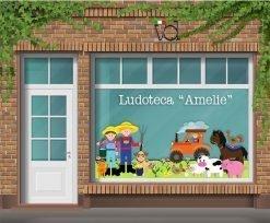 vetrina con contadini e animali della fattoria