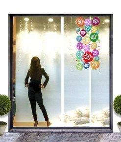 vetrina con varie percentuali di sconto